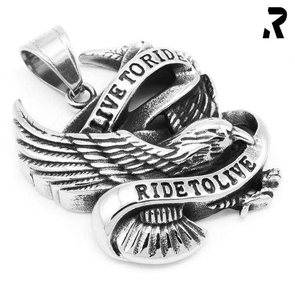 biker anhänger freedom eagle, adler, live to ride, ride to live, für damen, für männer, geschenkidee, männer geschenk, biker geschenk, anhänger mit kette, harley anhänger, edelstahl anhänger