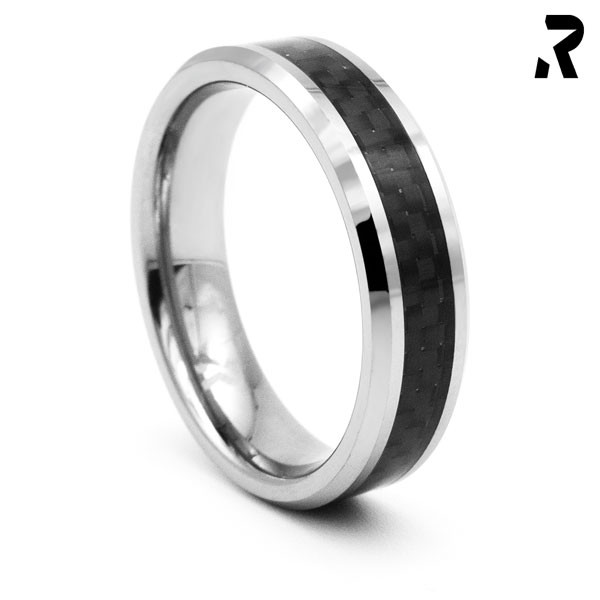 WOLFRAM CARBON RING Simple Black