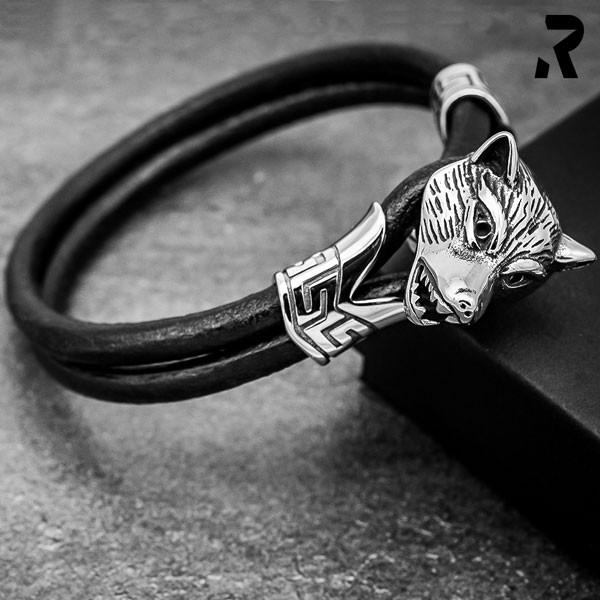 Leder Armband Dark Wolf ohne Verschluss