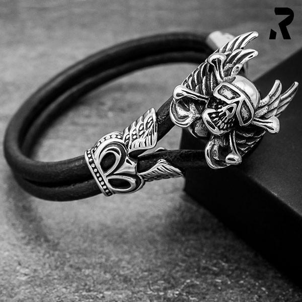 Leder Armband Dark Biker ohne Verschluss