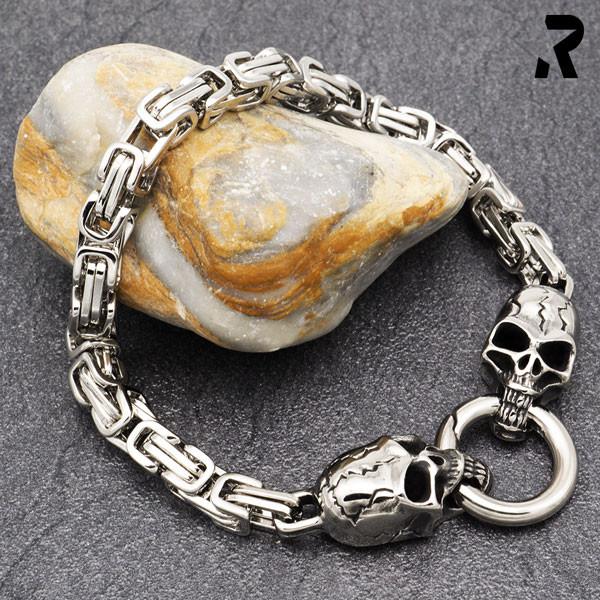 totenkopfarmband dark skull, zwei totenköpfe, königskettenarmband, für damen, für männer, männerarmband, damenarmband, geschenkidee damen & männer
